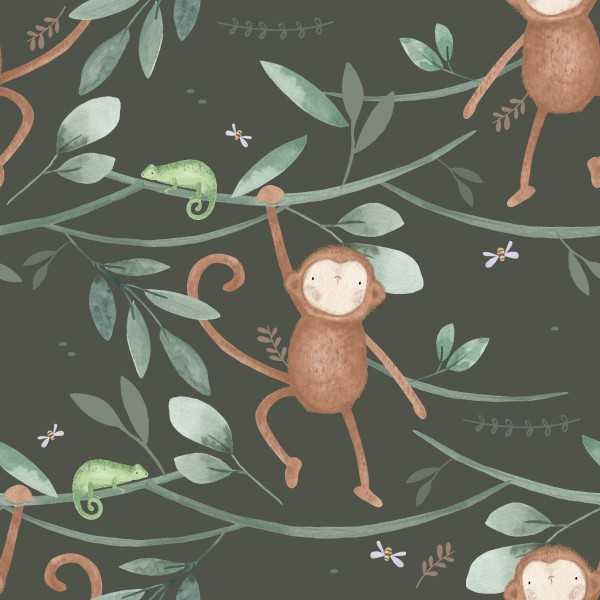 French Terry Digitaldruck Monkey Town Pine
