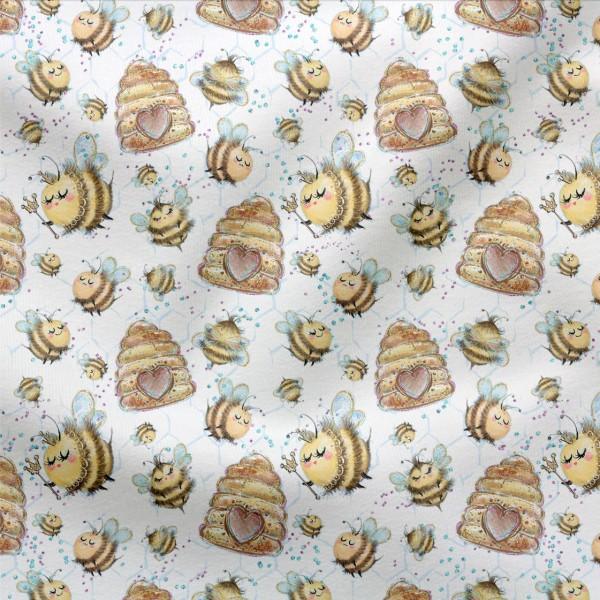 Jerseystoff Digitaldruck Happy Bee
