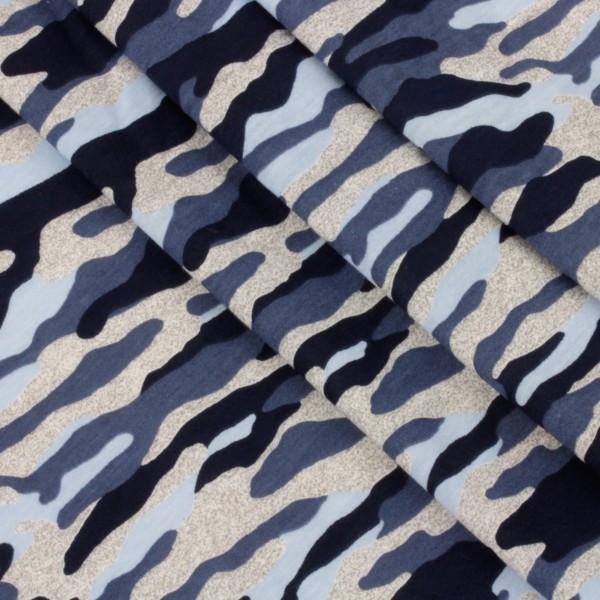 Jersey Stoff Bedruckt Camouflage Blau Grau