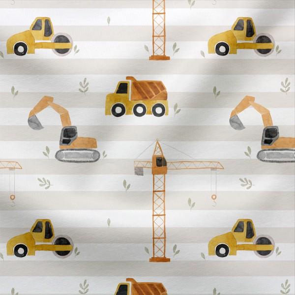 Jerseystoff Digitaldruck Achtung Baustelle
