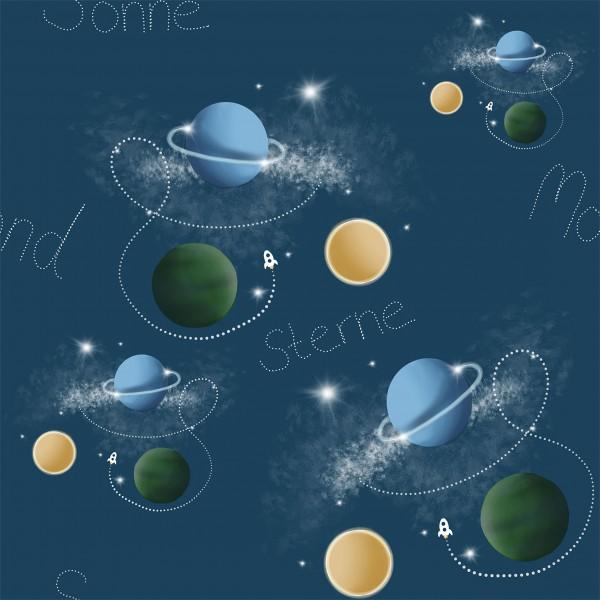 French Terry Digitaldruck Planeten