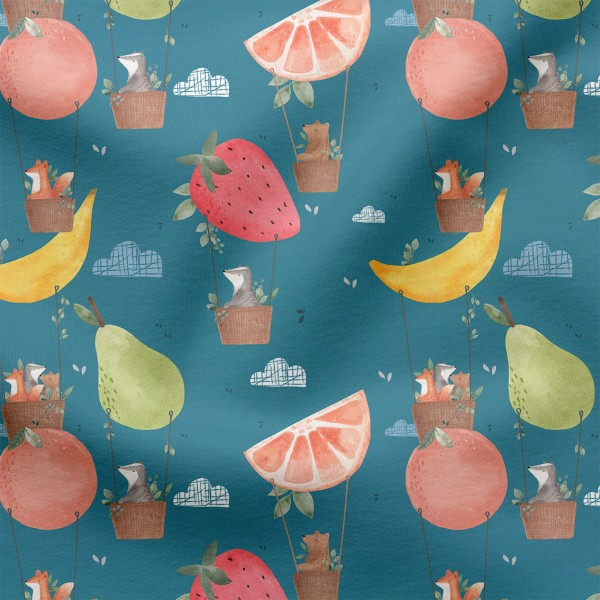 Jerseystoff Digitaldruck Fruchtballons