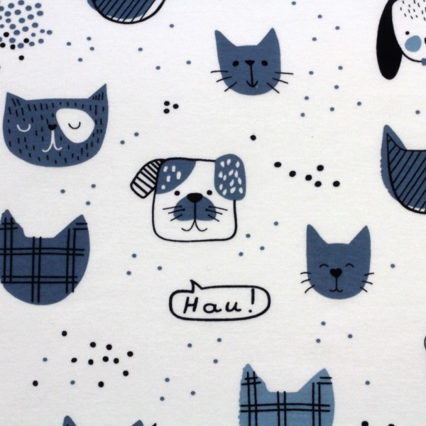 Jersey Stoff Bedruckt Cats and Dogs Blue