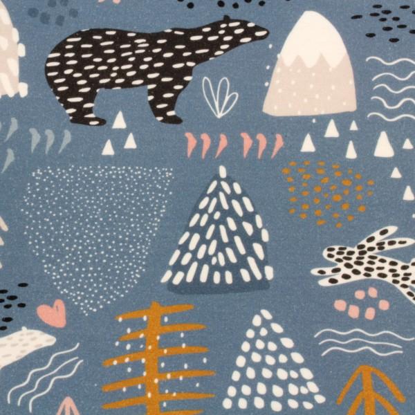 Jerseystoff Digitaldruck Bären und Berge